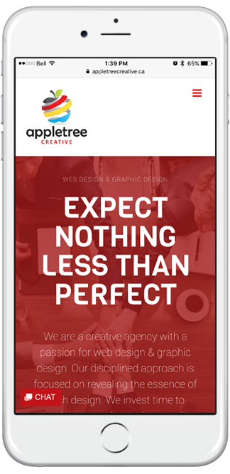iPhone displaying Appletree Creative's mobile website
